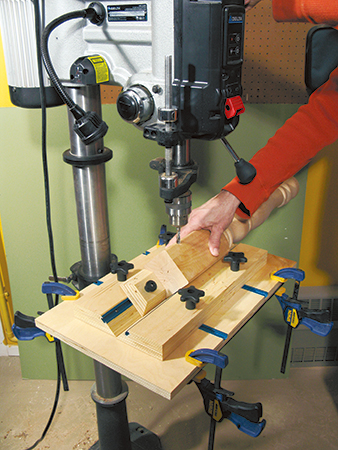Clamping drilling jig and table leg to drill press table