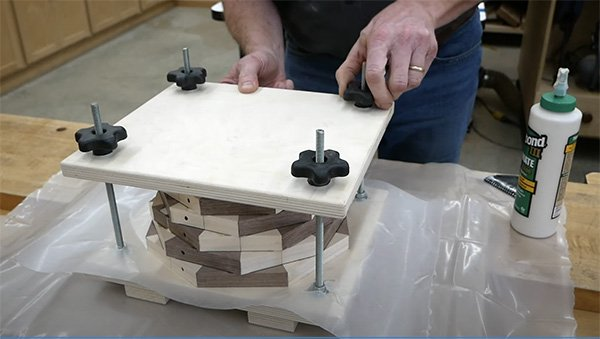 Making a press out of plywood and threaded rod