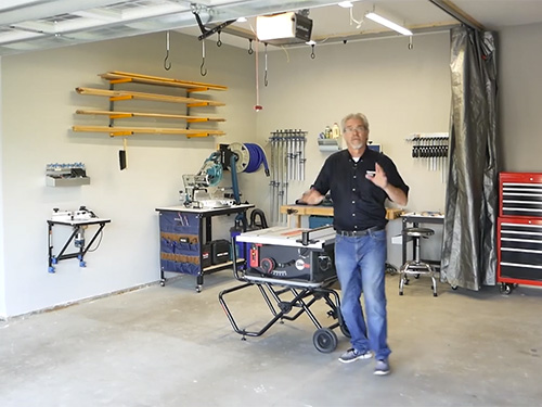 Woodworking shop in two car garage