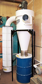 A larger dust collector with plastic bags and a large pleated canister filter provides excellent coverage for your whole workshop and greater filter usage.