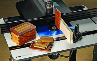 router table with pieces of wood on top