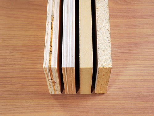 Side views of four different styles of plywood laminations