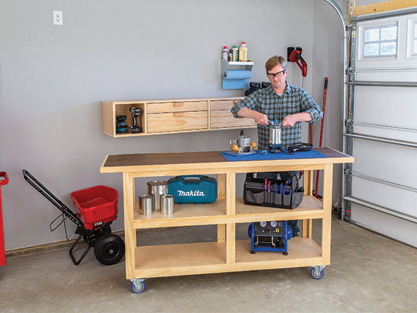Wall cabinet and matching mobile workbench for small shop