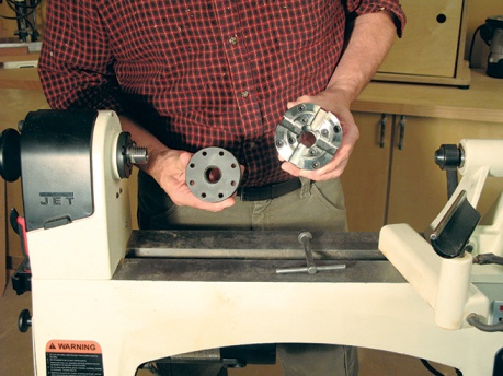 Displaying standard faceplate and scroll saw chuck for simple turning