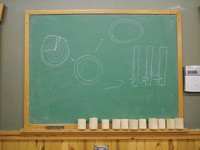 Drawing out parts of a round shrink box on a blackboard