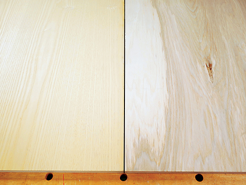 Side by side comparison of the show and construction sides of veneered plywood