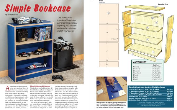 Lead photo and drawings for simple bookcase project
