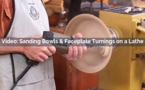 sanding bowls and faceplate turnings on a lathe video screenshot