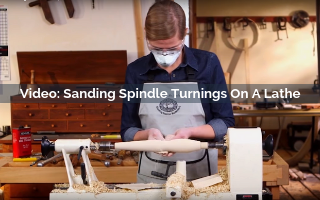 sanding spindle turnings on a lathe video screenshot