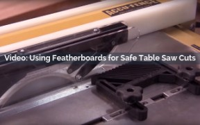 using featherboards for a safe table saw cuts video screenshot