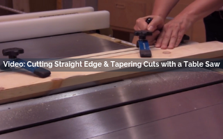 cutting straight edge and tapering cuts with a table saw video screenshot