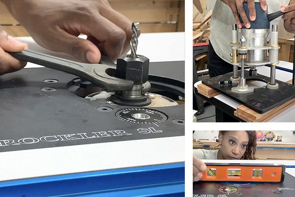 sl router lift installed in a router table