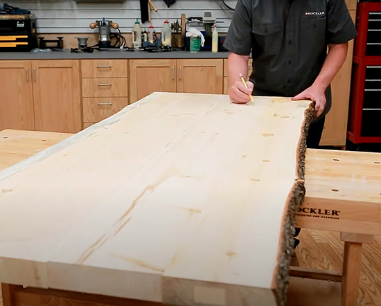 lining up slab boards for table top