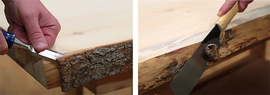 removing bark from table top edges