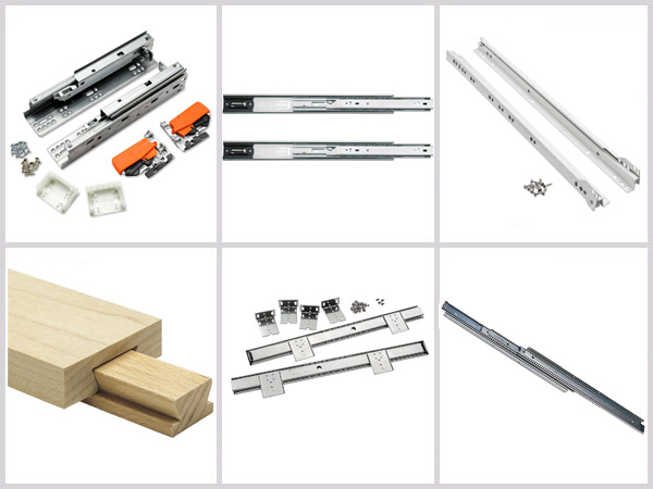 Sample of six different types of drawer slide