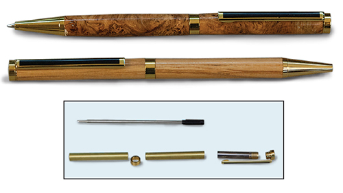 Turned pens made with slimline hardware kits