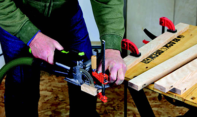 Festool Domino tool cutting slots for stile joinery