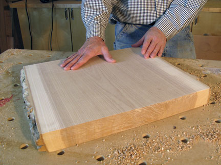 The surface of a rough lumber piece after surfacing