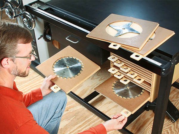 Using a bin and shelving to sort table saw blades