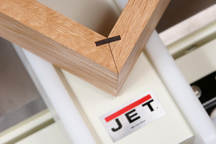 Close-up of miter joint with spline