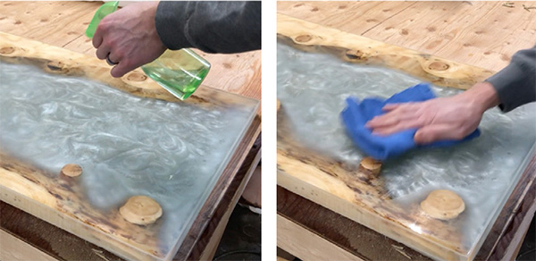 Using denatured alcohol to wipe off sanded epoxy table