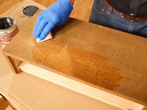 applying stain to hardwood