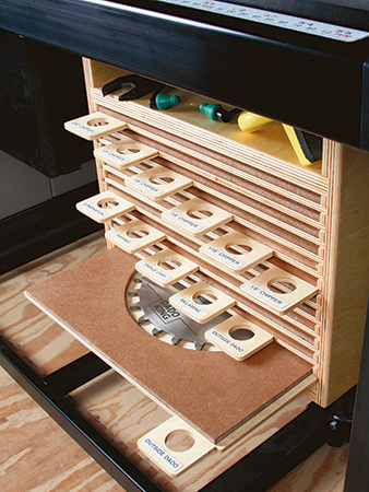 Assembled saw blade storage cabinet and trays