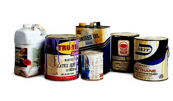 containers of old finishing supplies
