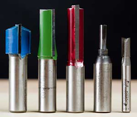 Selection of router bits made to cut dado joinery