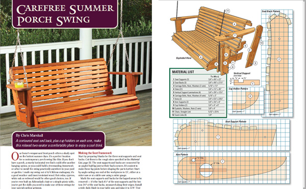 Pages and drawings from summer porch swing proejct