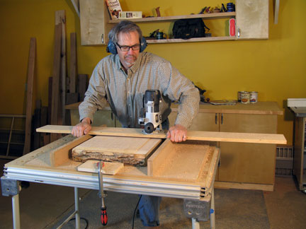 Using a router and jig to surface rough lumber
