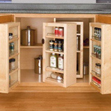 Example of a pantry cabinet with multiple swinging shelving units