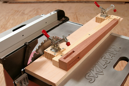 Jig for cutting tapers on table saw