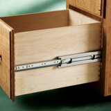 Side view of a drawer with a telescoping slide