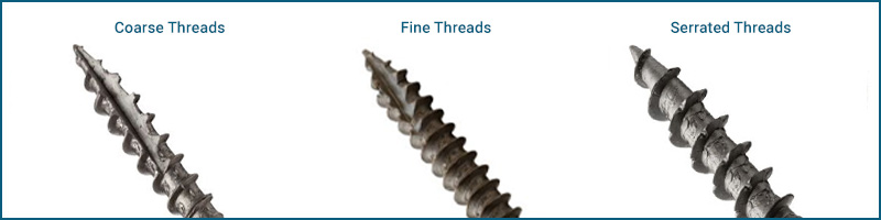 Course, fine and serrated screw threads
