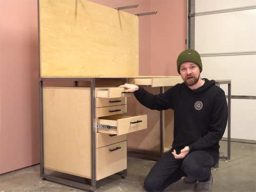 Michael Alm demonstrating three drawer construction types