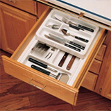 Kitchen drawer organization trays with a tiered structure