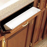 Tip out tray storage for false front drawers