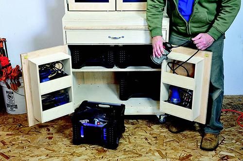 Putting tool storage bins inside cabinet cubbies