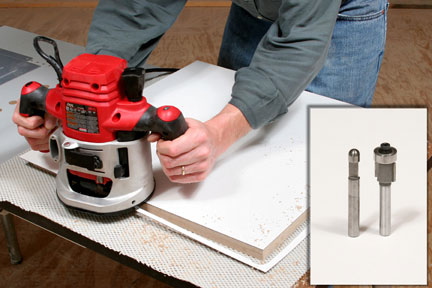 Trimming laminate edges with a router including close-up of potential bit choices