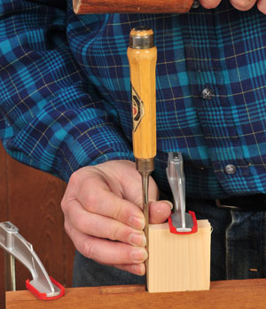 Ensure mortise sides are parallel with a chisel