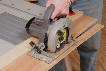 Using a circular saw to trim jig base down to size