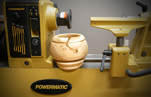 Yarn bowl turned on Powermatic lathe