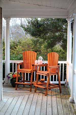 Bar height adirondack chairs made with outdoor woods