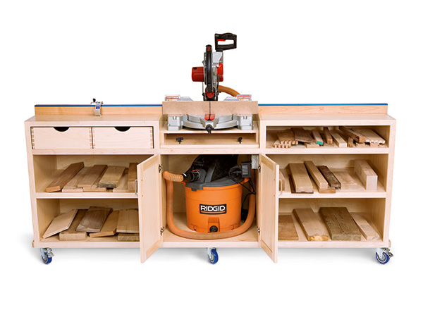 Mobile miter saw cabinet with dust collection and storage