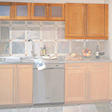 Example of kitchen cabinets elevated above counter
