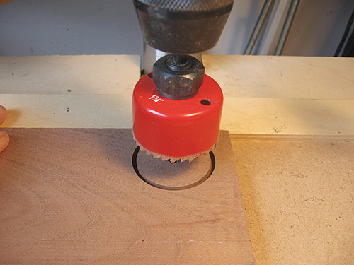 Cutting a small circle piece with a hole saw