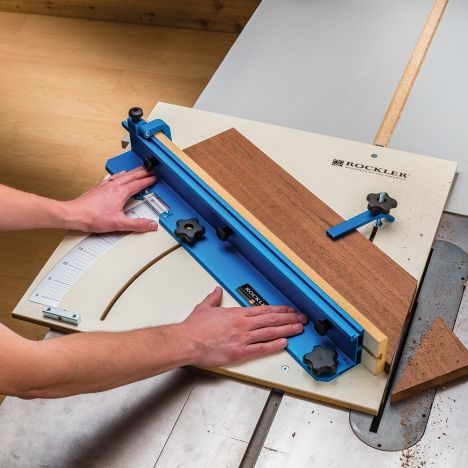 Using a table saw sled to cut a miter