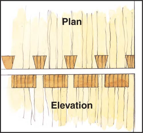 Drawing of dovetail joint with end grain vertically aligned