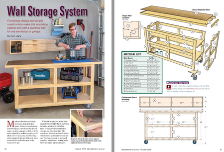 Lead image and drawings for wall storage system cabinet and bench